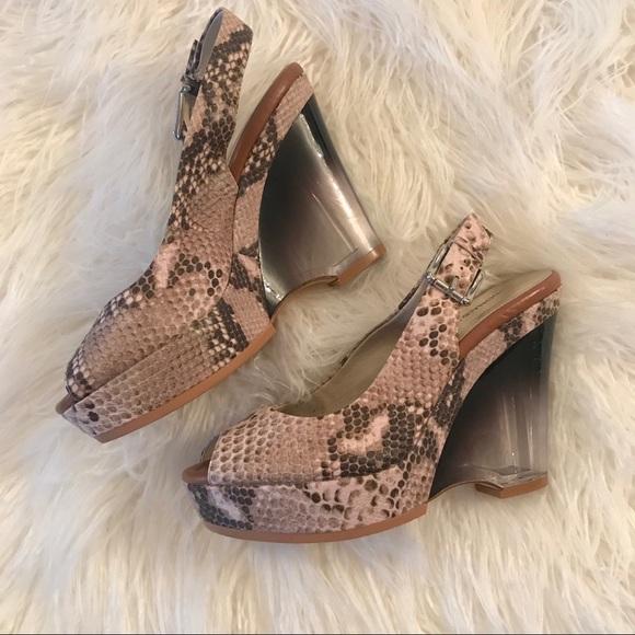 6b9c49f4bb9 Donald J. Pliner Shoes - Donald J Pliner Snakeskin Clear Wedge Heels Sz 8.5